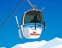Les Menuies Vintage Ski Poster