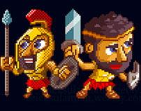 Spartan Warrior Pixel Sprite Animation