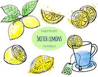 Tea with lemons. Sketch & watercolor.
