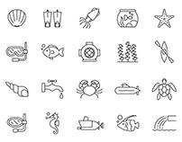 20 Aquatic Vector Icons