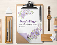 Watercolor sprays in purple and lilac