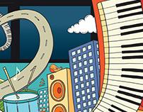 Music Bus Illustration