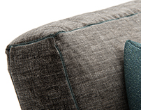 CG Sofa with Overlock Stitches and Rug