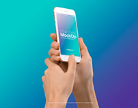 Female Hands with White iPhone 7 s Mockup