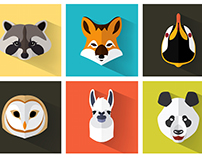 Flat style animal avatar collection