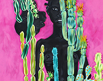 за кактусами