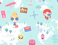 Love 2 Travel - textile pattern design