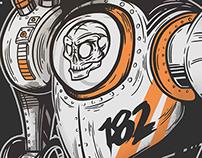 Blink 182 - Illustration Poster - Astronaut Skull