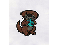 CUTE OTTER WITH SEASHELL EMBROIDERY DESIGN