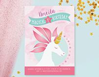 Unicorn Themed Party Invitation