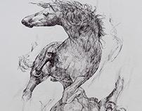 2 Horses. Symmetrical Study. Ink Drawing.