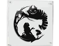 Alice & Cheshire Cat - hand cut paper