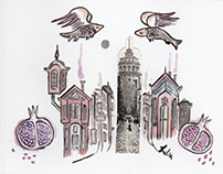 Istanbul bestiary on postcards - sketches