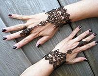 "Handmade Tatting Lace Slave Bracelets Ring ""Calypso"""