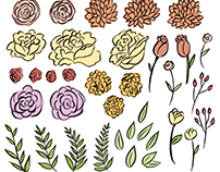 Hand Drawn Floral Elements with pattern+arrangements