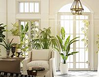 classic entrance & garden living room
