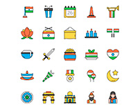 India Republic Day Icons Set