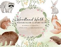 Free Woodland Walk Watercolor Clipart Set