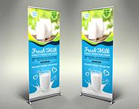 Farm Fresh Milk Signage Banner Roll Up Template