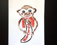 Monkey with banana Linocut Kids Poster
