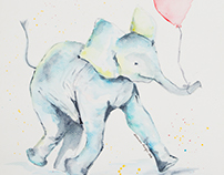 Children's Illustration - Watercolor Elephants (2016)