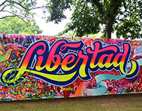 Libertad - Lettering, spray and brush.
