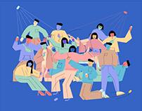 Social Media Life Illustrations Set