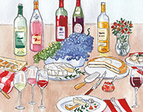 Watercolor picture for wine-testing