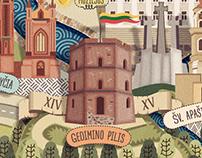 Vilnius Map Postcard