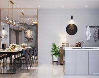 Thiết kế nội thất căn hộ chung cư 75m2 La saca tại HCM