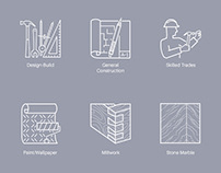 Linear Vector Icons for Total Home Improvement Service