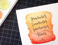 Summer Time Watercolor + Calligraphy