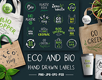Eco and Bio Hand Drawn labels