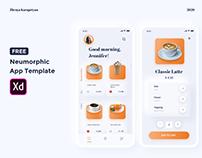 Free XD neumorphic app template