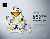 Kids Pull On Hoodie Mockup Set