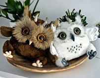 Young Owlkins, fantasy creatures, handmade art toys