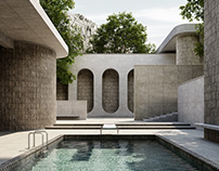 House with pool- Brutalism