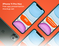 iPhone 11 Pro Max Free App Presentation Mockup