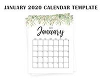 Free January 2020 Calendar