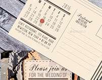 Wedding Postcard Invitation with Calendar