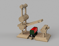 Wooden Train Dual Bridge with Counterbalance