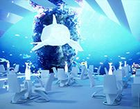"""Restaurant """"underwater world"""" with interactive screens"""