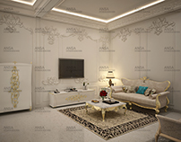 Living Room Interior With Golden Touch