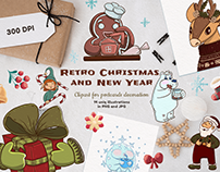 Retro Christmas and New Year Clipart, Postcard design
