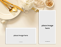 Free Table Place Reserve Card Mockup Psd