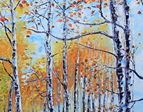 Birch Trees of Tahoe, Palette Knife Painting in Oil