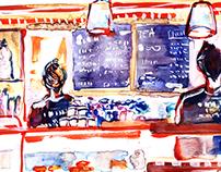 Cafe in London ( watercolour / pen )