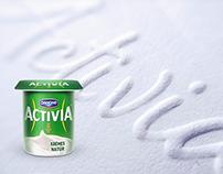activia creamy yogurt - embossed print