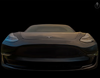 Tesla Model 3 painted in Adobe Photoshop CC