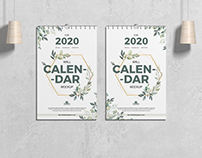 Free Wall Calendar Mockup PSD For 2020